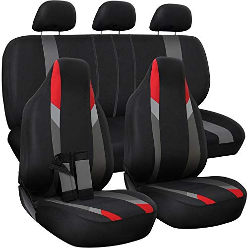 Motorup America Auto Seat Cover Full Set - Fits Select Vehicles Car Truck Van SUV - Newly Designed Mesh - Red/Black/Gray