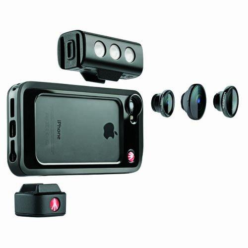 Manfrotto - Set cover + luce SMT LED + 3 obiettivi per Apple iPhone 5/5S, colore: Nero