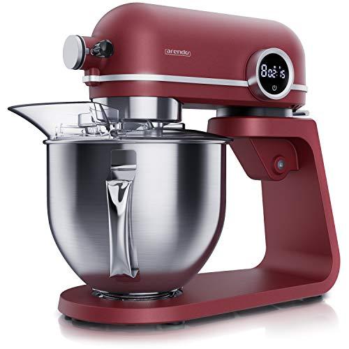 Arendo - leistungsstarke Küchenmaschine 5 Liter – Edelstahl Rührmaschine - Vollmetall Knetmaschine – planetarisches Rührsystem - Edelstahlschüssel - inkl. 3 Rührwerkzeuge – 8 Schaltstufen - rot