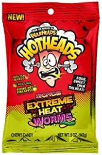 Warheads Hotheads Extreme Heat Tropical Mini Worms, 2 oz (Pack of 15)