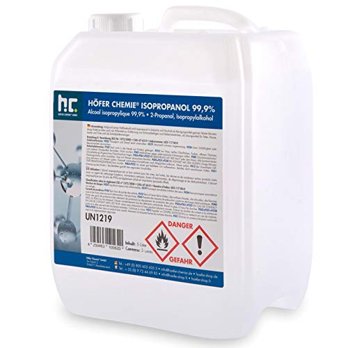 5 L Isopropanol 99,9% IPA von Höfer Chemie frisch abgefüllt im handlichen 5 L Kanister - perfekt als Lösungsmittel und Fettlöser geeignet