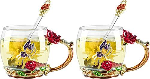 COAWG Teetasse aus Glas Rote Rose Glasklare Neuheit Glas Teetasse Kaffeetassen Reisebecher mit aufwändigem Blumengriff und schönem LöffelThanksgiving 11oz 2Pcs