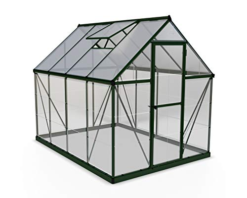 Palram HG5508G-1B Hybrid Hobby Greenhouse, 6' x 8' x 7', Forest Green