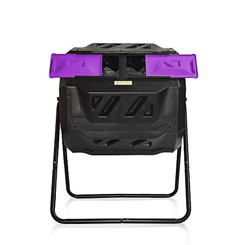 Large Compost Tumbler Bin -Outdoor Garden Rotating-Dual Compartment - Better Air Circulation Efficient Compost- BPA Free-Sturdy Steel Frame - 43Gallon (2-21.5Gal)- Purple Door