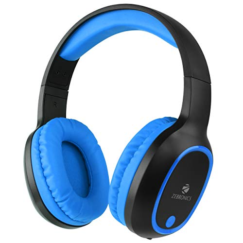 ZEBRONICS Zeb-Thunder Wireless Bluetooth Over The Ear Headphone with Mic (Blue)