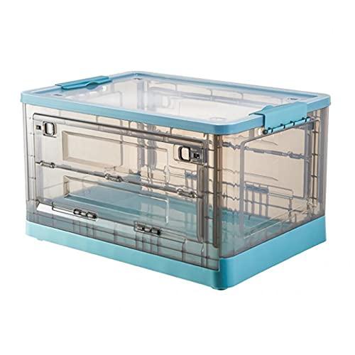 Claro Caja de Almacenaje con Tapa,Apilable Cajas de Utilidad Plegable Plástico Cubos de Almacenaje Organizador Hogar Garaje Comestibles Contenedore,Cajas de Almacenamiento Plegable-Azul 69l(19.6x14x11