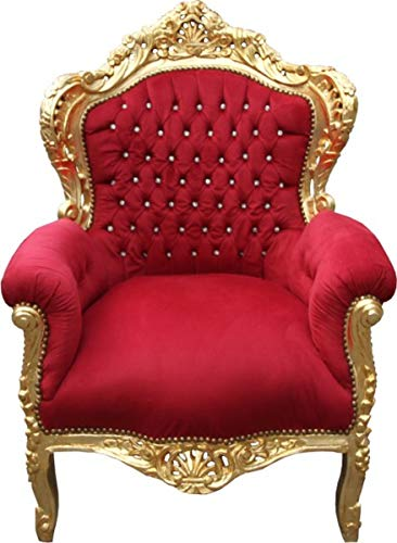 Casa Padrino baroque chair king mod2 bordeaux red/gold with sparkling stones - antique style armchair Baroque Armchair 'King' Bordeaux/Gold with Bling Bling diamante Mod2