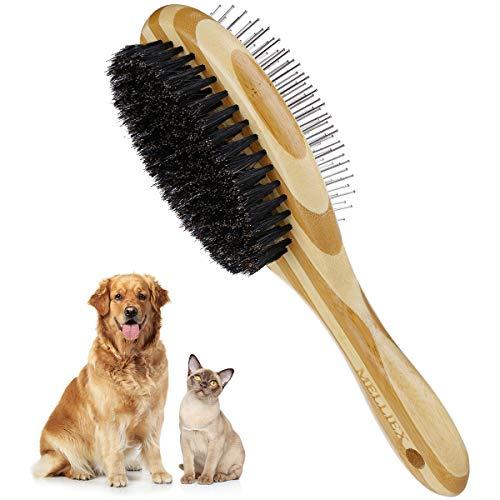MELLIEX Peine Perro y Gato, Cepillo Perro Pelo Largo & Corto Cepillo para Mascotas Bambú de Melena Suave de Acero Inoxidable de Doble Cara, Quitar el Exceso y Muerto de Pelo, No Rascará la Piel