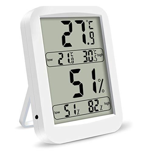 Digitale indoor outdoor thermometer, hygrometer, temperatuur en vochtigheidsmonitor met LCD-scherm, alarm klok, testkoord voor thuis, kantoor (wit)