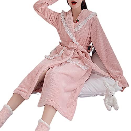 YDYBY Vestaglia da Donna Invernale, Pigiama Lunga Morbido con Cintura Tasca Pizzo da Ricamo Camicie da Notte Kimono Ultra Confortevole Vestiti Sleepwear,Rosa,L