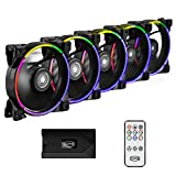 CP3 Case Fans 120mm Addressable RGB PC Cooling Fans Dual Lighting Loop Quiet Fans Compatible with Aura Sync, PWM PC Fan for Computer Case &Liquid Radiator Fan Adjustable Speed: 1000-1800RPM (5 Packs)