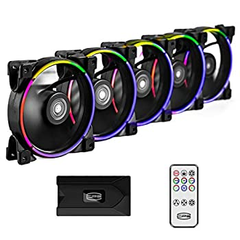 CP3 Case Fans 120mm Addressable RGB PC Cooling Fans Dual Lighting Loop Quiet Fans Compatible with Aura Sync PWM PC Fan for Computer Case &Liquid Radiator Fan Adjustable Speed  1000-1800RPM  5 Packs