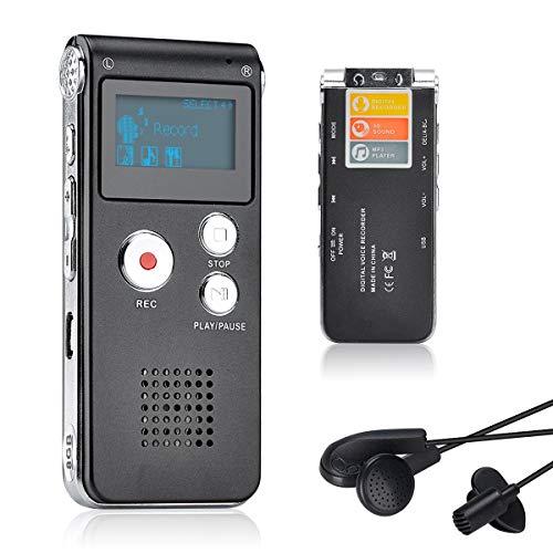 Lychee 8GB LCD Bildschirm Digitales Diktiergerät Aufnahmegerät Sprachaufnahme Audiorekorder Voice Recorder für Studium Konferenzen und Interviews MP3 Player (Schwarz)