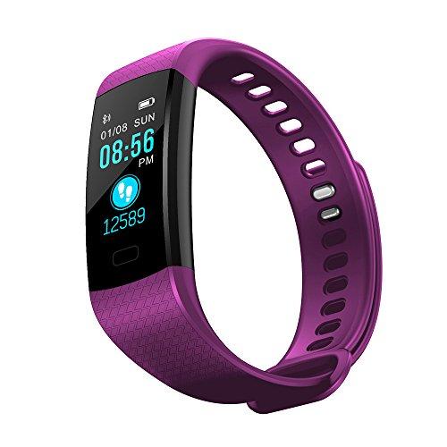 Riou Herren Damen Fitness Tracker,Fitness Armband mit Blutdruckmessung Pulsmesser Wasserdicht Smartwatch Aktivitätstracker Schrittzähler Fitnessuhr Sportuhr (Lila)