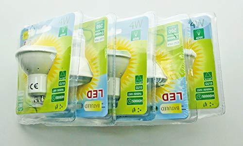 Batuled - Pack 5 dicroicas LED GU-10 4W 6400K - [Eficiencia energética A+] - 50.000 Horas de Vida