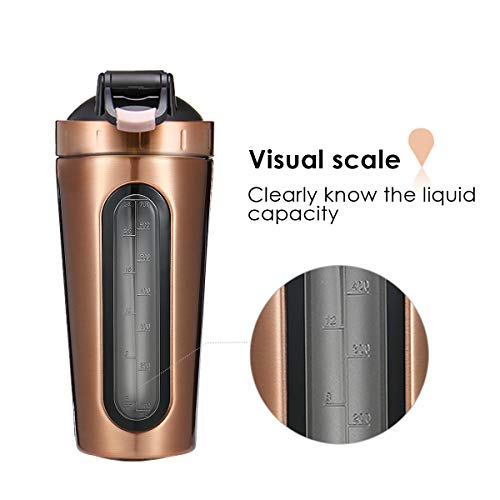 Slimerence Protein shaker bottle with Ball, Fitness Sports Cup Stainless Steel Shaker Mixer Bottle Protein Shaking Cup for Gym Fitness Home 700ML Gold