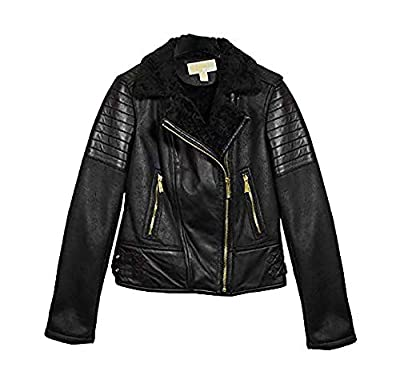 Michael Michael Kors Black Leather and Faux Shearling Jacket (S)