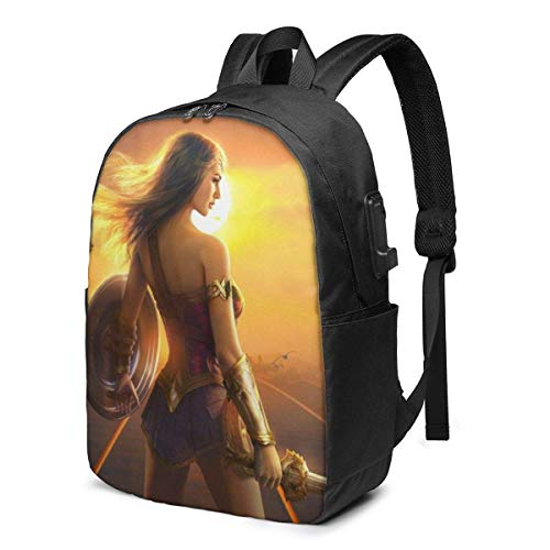 Hdadwy Wonder Woman Laptop Backpack with USB Charging Port/Stylish Casual Waterproof Backpacks Fits Most 17/15.6 Inch Laptops and Tablets/for Work Travel School