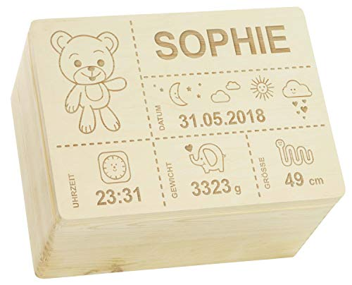 LAUBLUST Holzkiste mit Gravur - Personalisiert mit GEBURTSDATEN - Naturbelassen, Größe XL - Teddybär Motiv - Erinnerungskiste als Geschenk zur Geburt