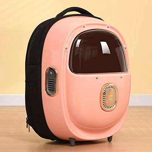FHDFH Pet Cat Backpack Can Be Heated with One-Click Ventilation Space Bag Travel Backpack Cat Carrying Bag, Built-In Large Space, Three Colors, Suitable for Cats, Rabbits And Small Dogs,Pink