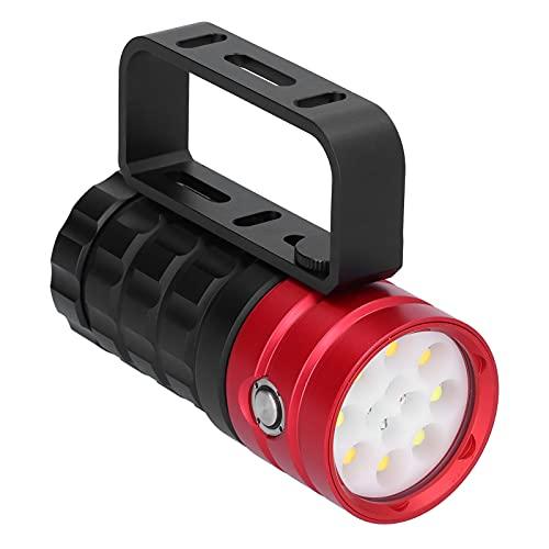 YOIM Luz de Buceo, 10000lm 12Led 4 Colores claros 8 Modos de luz Linterna de Buceo IP68 a Prueba de Agua Pérdida de luz Baja Antorcha de Buceo para Pesca submarina de 100 m(Rojo)