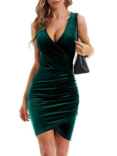 MSBASIC Sukienka zimowa damska z długim rękawem, odświętna, na zimę, elegancka sukienka wieczorowa, krótka sukienka bożonarodzeniowa, dekolt w kształcie litery V, sukienka na imprezę, aksamitna sukienka, Zielono-bez rękawów., S