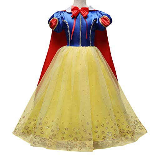 Toddler Girls Snow White Princess Fancy Dress Up Puff Sleeve Cosplay Queen Fairytale Role Play Halloween Costume Pageant Birthday Party Floor Length Dance Gown Tulle Outfit Long Cape Cloak 5-6 Years