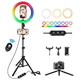 10' Ring Light with 62' Tripod Stand & 3 Phone Holders,42 Color Modes & Stepless Dimmable Selfie Ring Light for YouTube,Makeup,Tiktok,Live Stream,Photography,LED Ring Light for iPhone/Android Phone