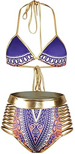 JOK Mujeres African Imprimir Bikini Set de Cintura Alta Traje de baño Trajes de baño, Mujer Bikini Traje de baño Traje de baño de Damas(L, Purple)