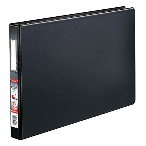 """Cardinal Premier 11 x 17 3-Ring Binder, 1"""" Locking Slant-D Rings, Heavy-Duty Covers, 250-Sheet Capacity, Black with Spine Label (12112V4)"""