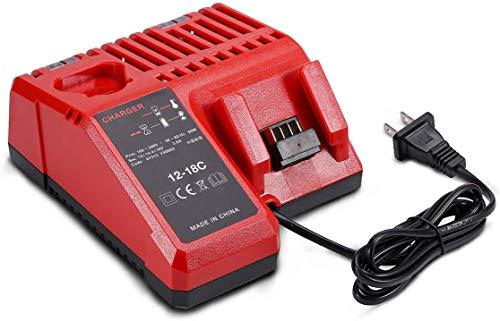 Masione Battery Charger 48-59-1812 for 12V-18V Milwaukee 12V 14V 18V Lithium Battery 48-11-2420 48-11-2440 48-11-1820 48-11-1840 48-11-1850 48-11-2401