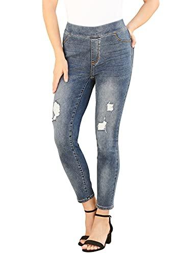 Roamans Women's Plus Size The No-Gap Jegging Pull On Jeans Denim Legging - 18 W, Distressed