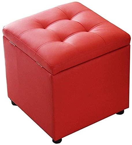 FSYGZJ Reposapiés para Cambiar Zapatero Cube otomana Taburete Otomano Silla Cuadrada con reposapiés tapizado |Pasillo MAX, 150 Kg, 40 X 40 X 40 cm (Tamaño: Rojo)