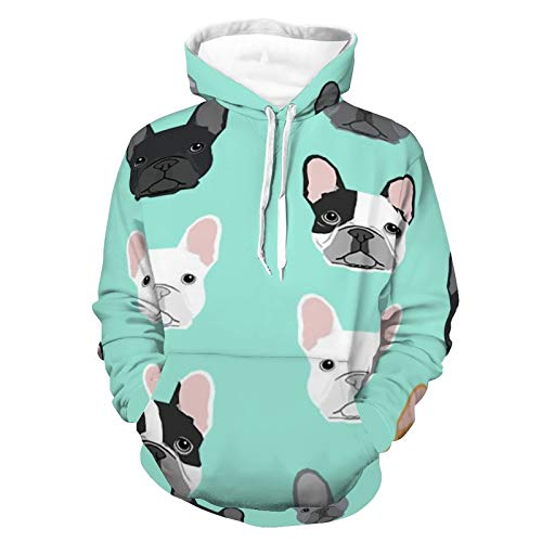Unisex Long Sleeve Hoodie Pullover Sweatshirt Womens Mens French Bulldog Sweet Dog Puppy Puppies Dog Pattern Skin-friendly Hooded T-Shirts with Pocket