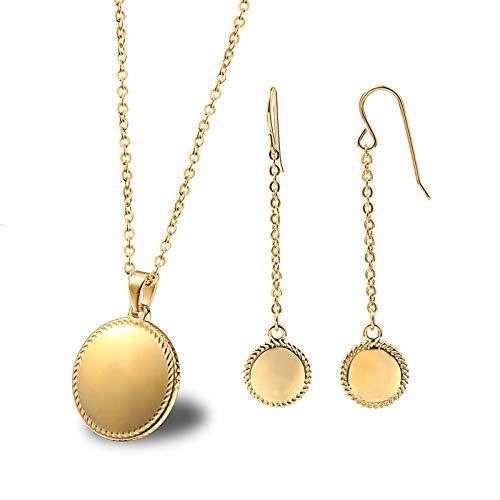Daesar Juegos Joyas Redondo Conjuntos de Mujer Dos Piezas Pendientes Collar Oro