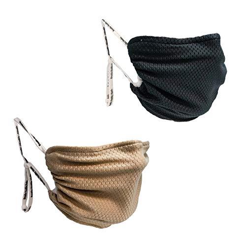 Breathe Healthy Honeycomb Face Mask - 2 Pack Deal! Adjustable, Washable - (Black & Beige)