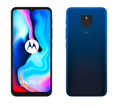 "Motorola moto e7 plus (dual camera 48MP, batteria 5000 mAh, display Max Vision 6.5"", processore octa-core, Dual SIM, 4/64GB, Android 10), Misty Blue"