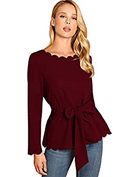 Romwe Women s Bow Self Tie Scalloped Cut Out Elegant Office Work Tunic Blouse Top Burgundy Small