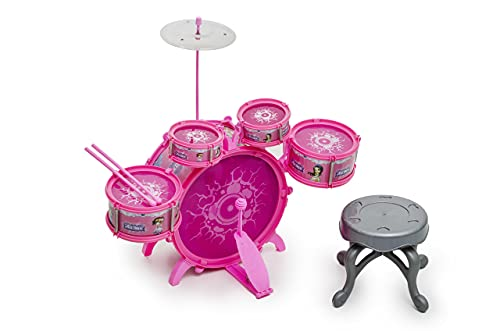 Bateria Infantil Rock Party Com Banquinho Baqueta Rosa Meninas BH STORE