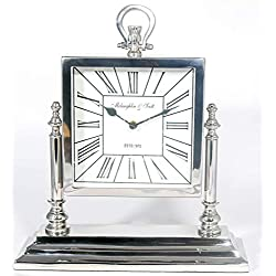 Hind Handicrafts Aluminium 9 x 9 Mantle Clock - Retro Non-Ticking Table Desk Mantle Clock Battery Operated with Sweep Quartz Movement Roman Numerals Decorative for Bedroom Living Room Kids Room
