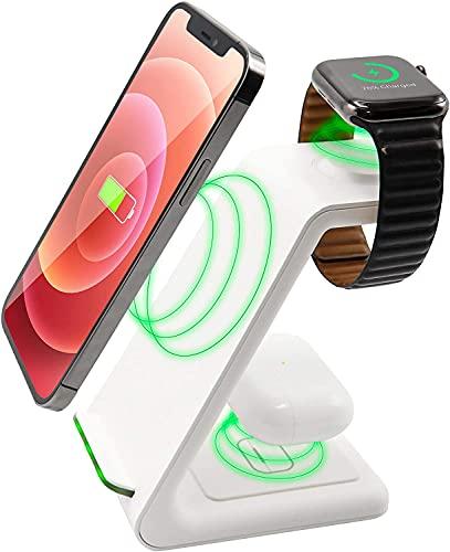 3 in 1 Wireless Ladestation Weiss White Edition - All in One - für Apple Watch 6/5/4/3/2/SE, AirPods Pro/2, für iPhone 11/12/13/Pro/Pro Max/XS/XR/8Plus/8/X/SE 2