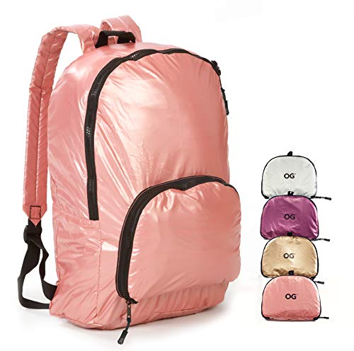 OG Online&Go Mochila Mujer Plegable Ultra-Ligera 20L, Bolso Pequeño Chica, Rosa, Impermeable, Compacta, Bolsa Compra