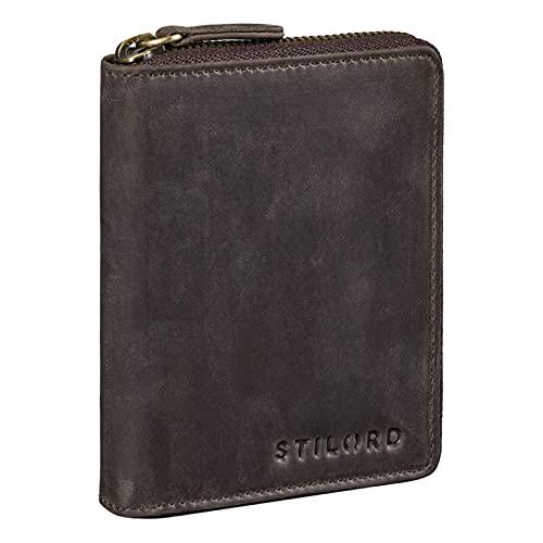 STILORD 'Giannis' Mini Cartera Hombre Cuero Vintage Elegante Billetera Pequeña Tarjetero RFID y NFC Elegante Portamonete de Auténtica Piel, Color:marrón Oscuro
