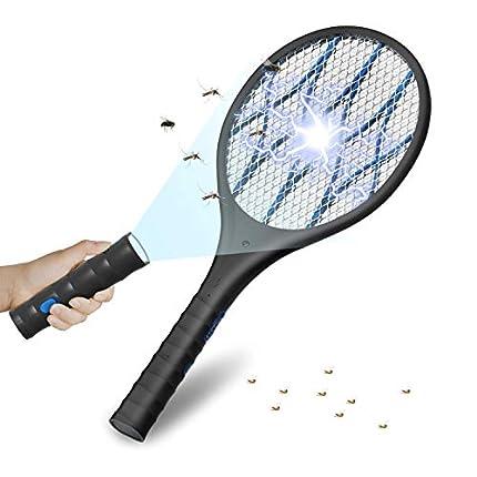 UGHEY Antimosquitos Recargable Raqueta Matamoscas Electrica , Mata Mosquitos Electrico, Kill Polillas,4000 Voltios, Iluminación LED, Linterna Extraíble, Malla de Seguridad Unica de 3 Capas Segura