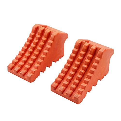 """ROBLOCK Wheel Chocks Heavy Duty with Handle for Travel Trailer -2 Pack Orange, 8"""" Length x 4"""" Width x 4"""" Height"""