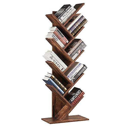 SUPERJARE 9-Shelf Tree Bookshelf, Floor Standing Tree Bookcase in Living Room/Home/Office, Bookshelves Storage Rack for CDs/Movies/Books - Rustic Brown