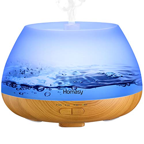 Homasy 500ml Difusor de Aromas, Difusor Aromaterapia con Luz Nocturna de 8 Colores, 21dB Humidificador Aceites Esenciales Ultrasónico, Humidificador Bebés con Lámpara Fragante sin BPA