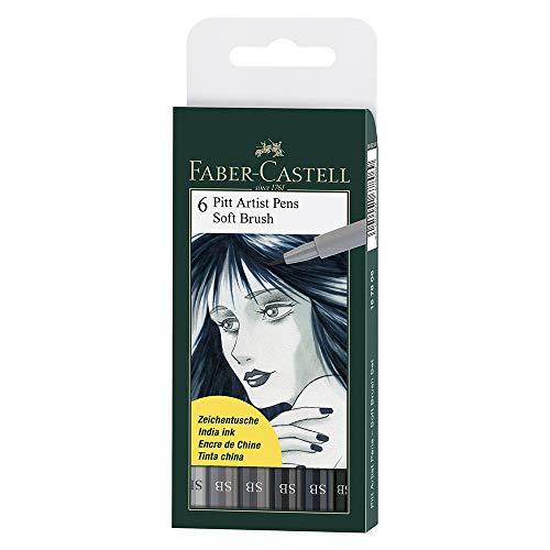 6x Bolígrafos de Faber-Castell Pitt Artist (suave cepillo) tonos de gris