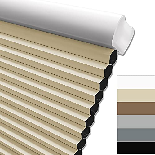 Keego Blackout Cordless Window Shades Blinds for Windows-Custom Cut to Size Window Blinds & Shades for Home Kitchen Bedroom Office (Beige 100% Blackout, Any Size)