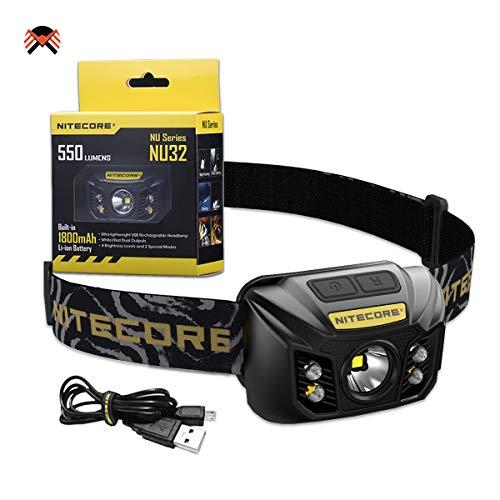 Nitecore NU32 Linterna Frontal LED Recargable 550 Lumenes 3 Tipos de Luz Batería Integrada 330H Resistente IP67
